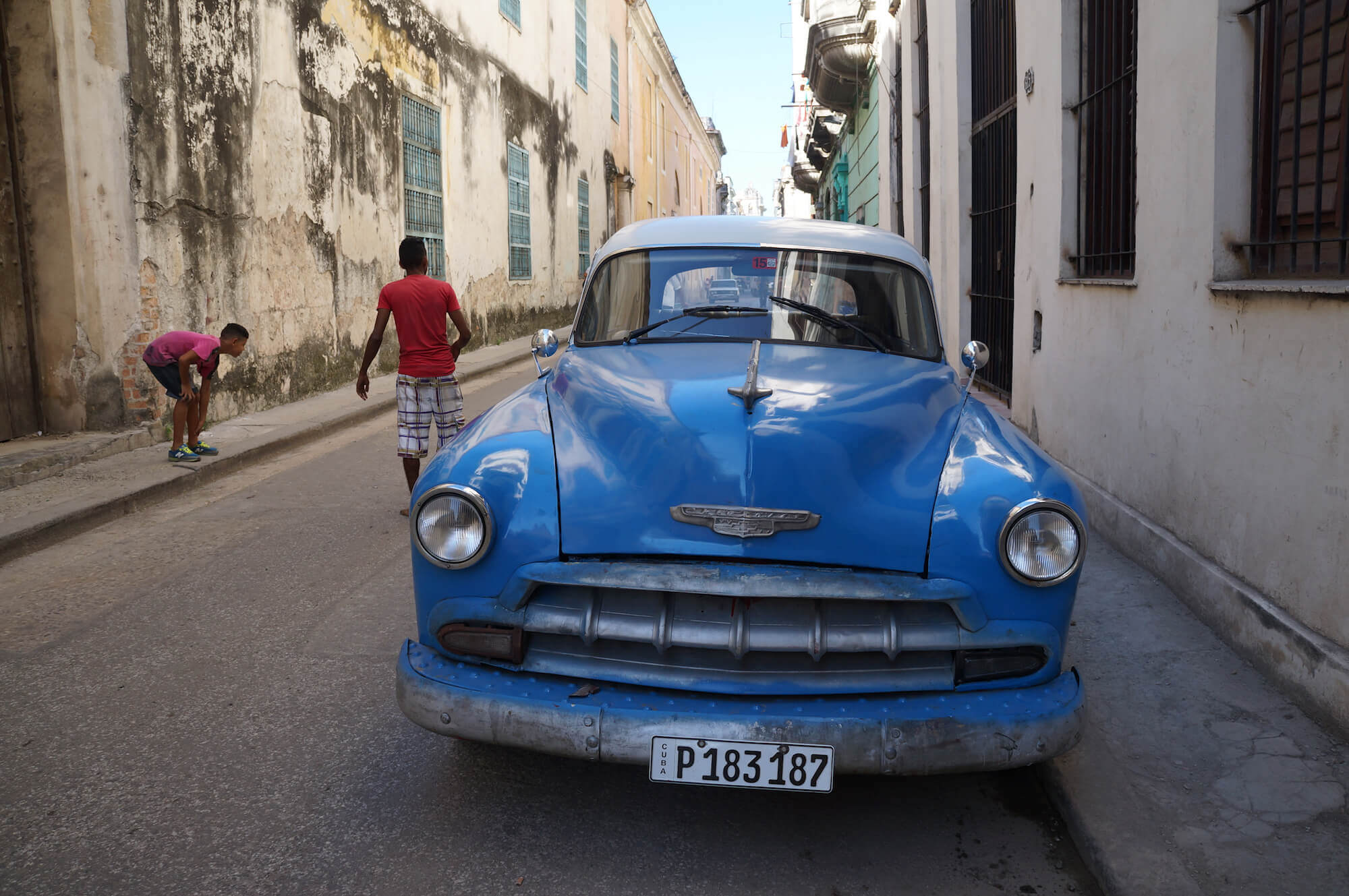 classic blue car in Cuba