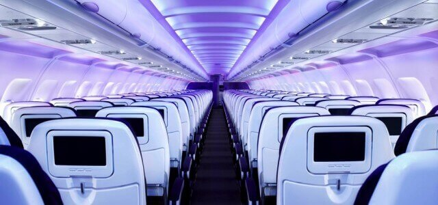 inside of an airplane