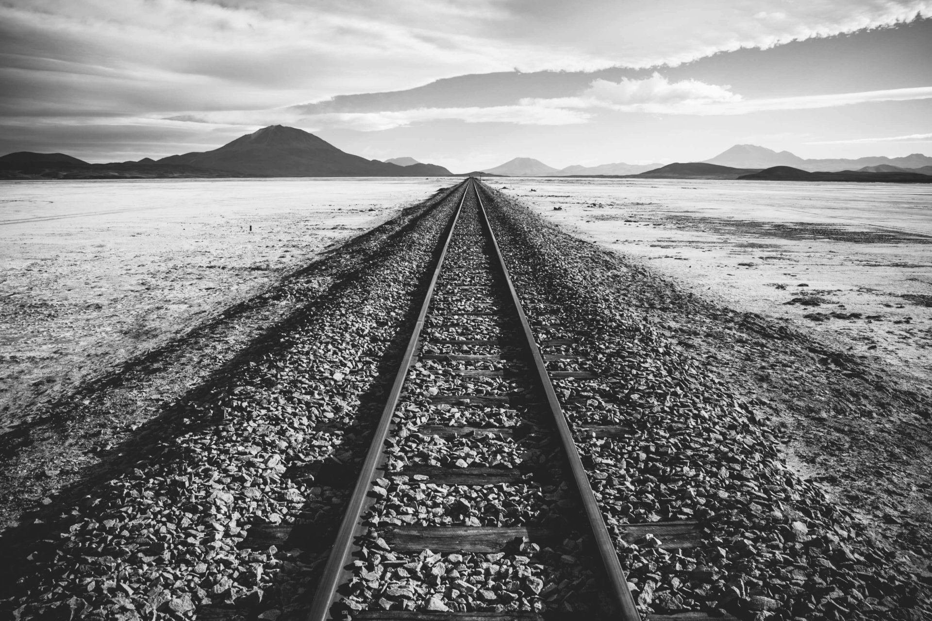 railroad tracks in the middle of nowhere