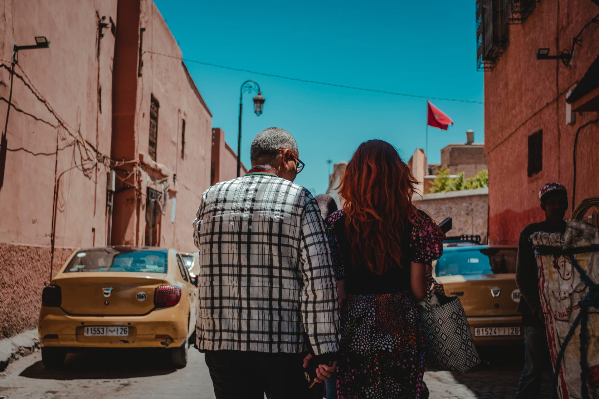 Couple Strolling Abroad
