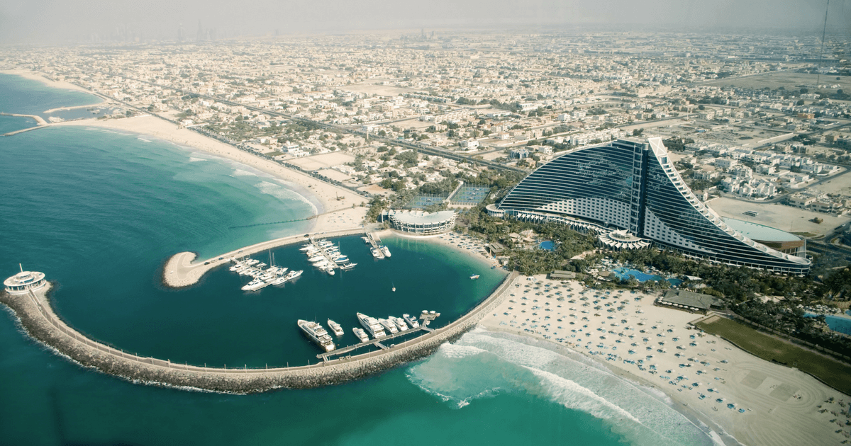 United Arab Emirates scenery and green blue water beach
