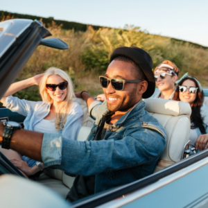 traveling in a car with friends