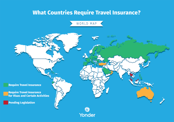 world map of countries that require travel insurance
