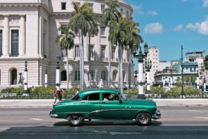 classic green car in Cuba