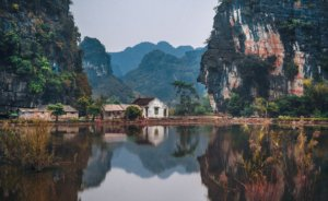 Scenery in Vietnam with mountains and water
