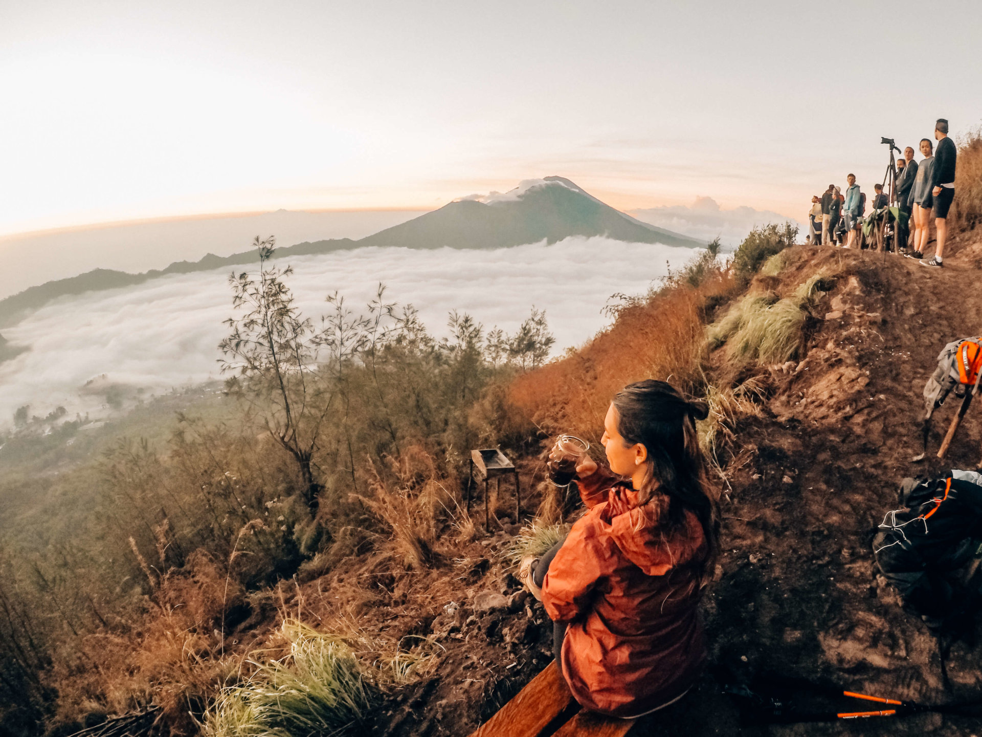 Double Occupancy overlooking Mount Batur during sunrise