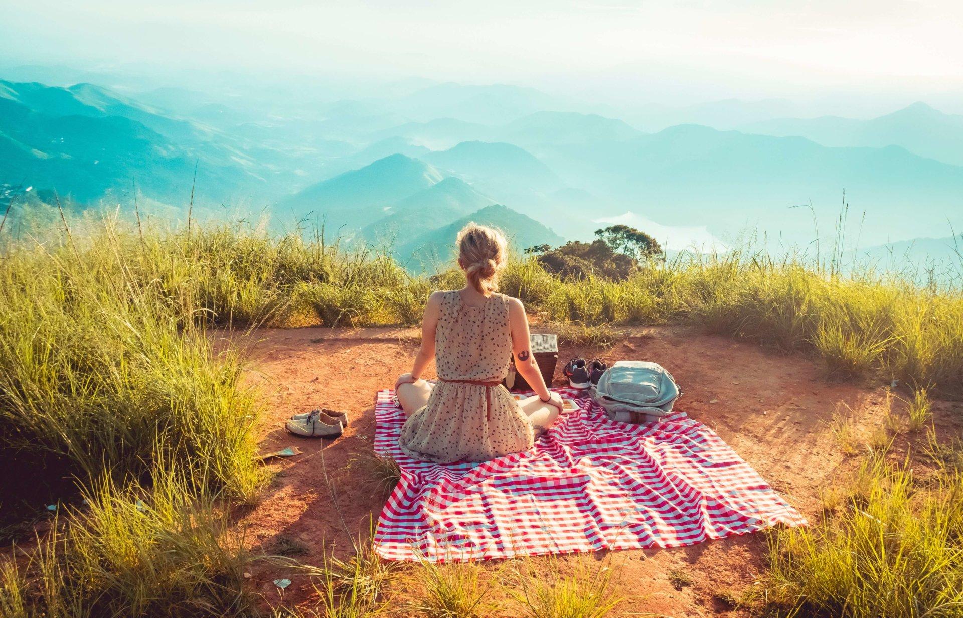 Woman picnic on mountain