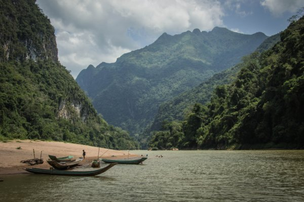 South East Asian scenery with mountains and water