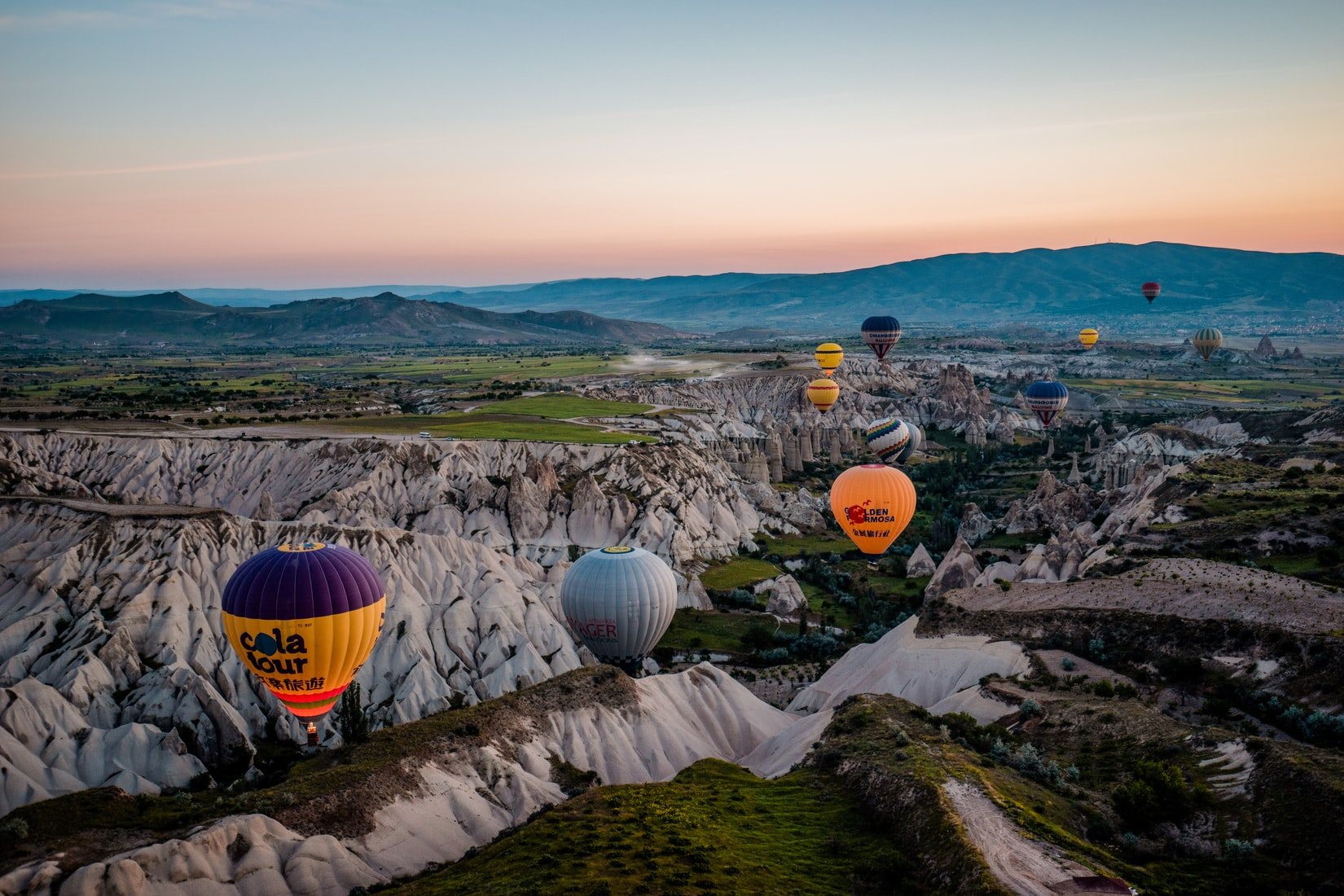 aerial photography of hot air balloons
