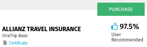 Yonder travel insurance quote results page
