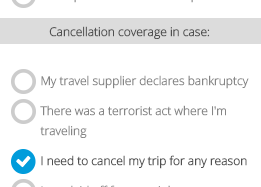 Cancellation coverage options on Yonder Travel Insurance