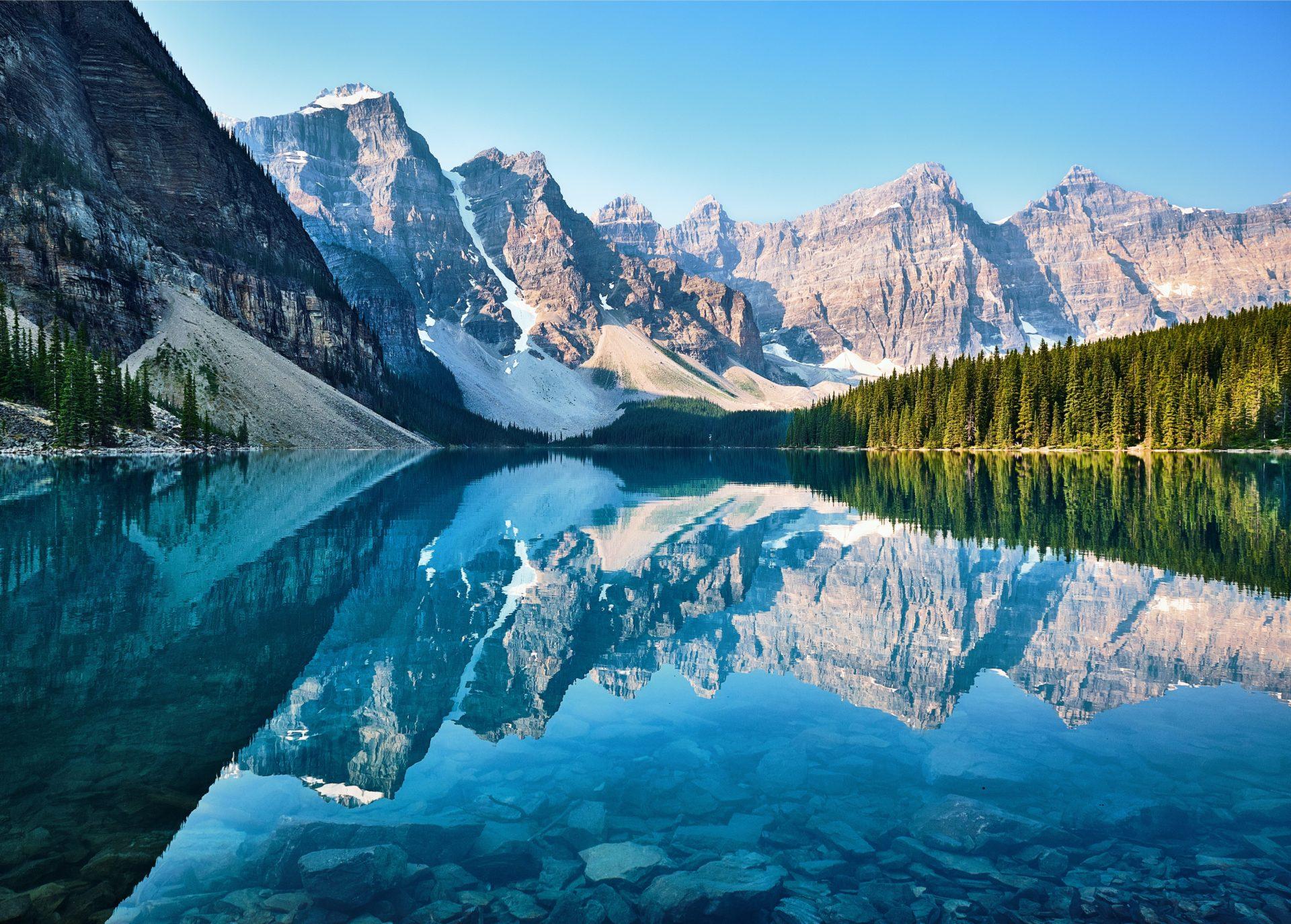 canadian mountains next to lake