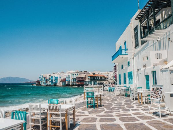 outdoor seating in greece